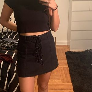 Forever 21 • Black Denim Skirt with Lace Tie-Up